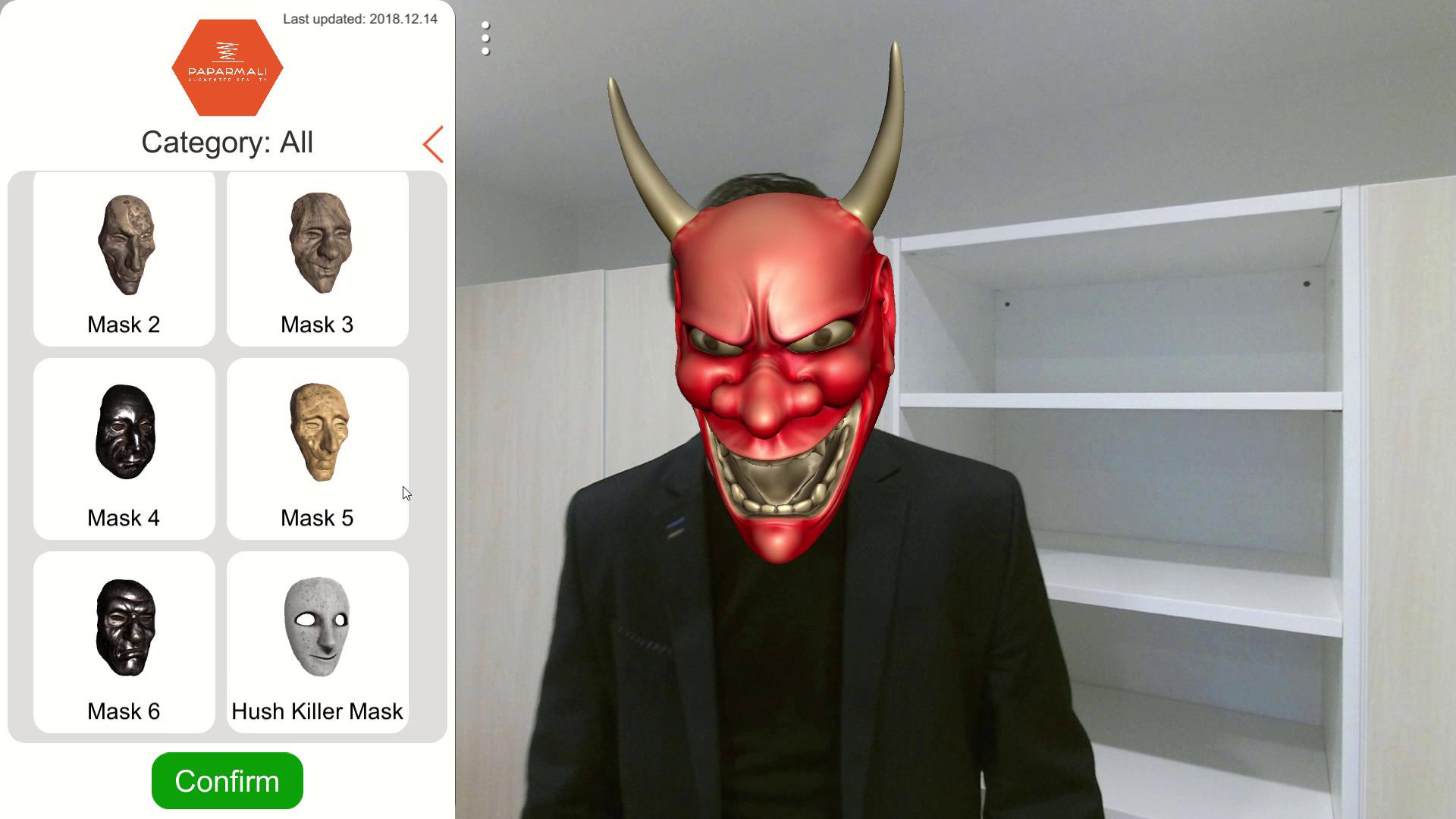Paparmali 2 - AR Face Tracking using Kinect 2