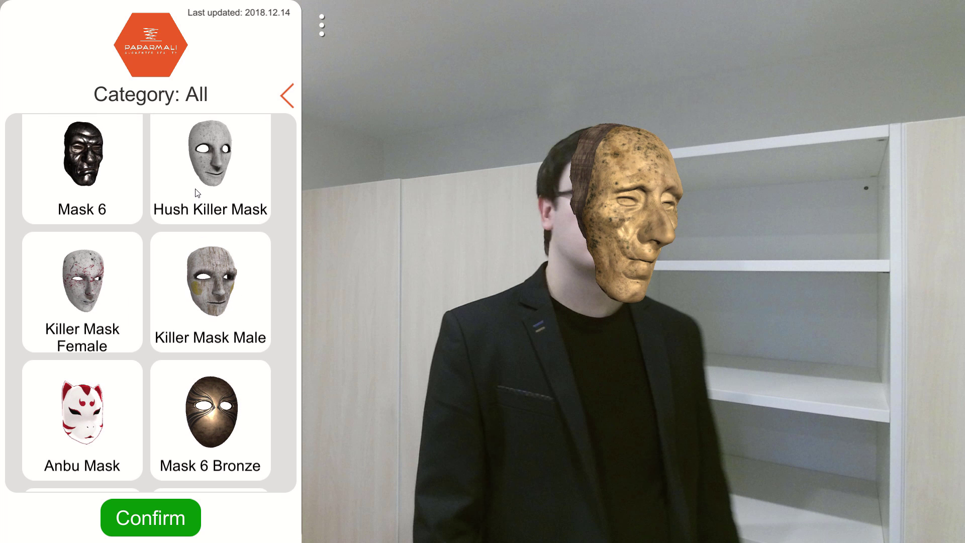 Paparmali 2 - AR Face Tracking using Kinect 2